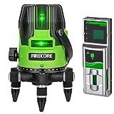 Firecore レーザー墨だし器 高輝度 5ライングリーンレーザー墨出し器 EP-400 レーザーレベル フルライン照射モデル 4方向大矩ライン(4垂直1水平)【受光器セット】
