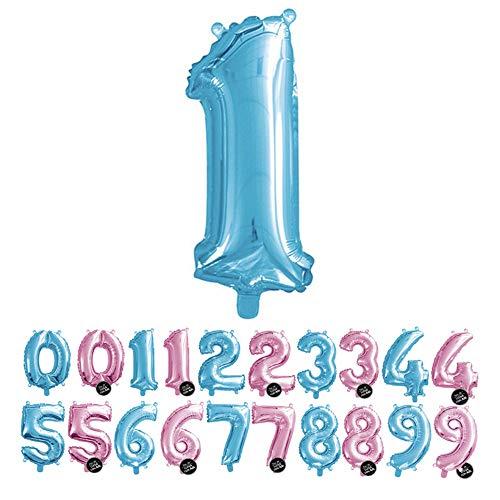 Haioo Globo Número de Cumpleaños en Metalizado Ideal para Fiesta de cumpleaños y Aniversarios Hinchable y Deshinchable (Azul 1)