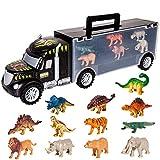 HERSITY Dinosaurios Camiones de Transporte de Juguete Transportador de Coches con 6 Animales y 6 Dinosaurios Juegos para Ni├▒os Ni├▒as
