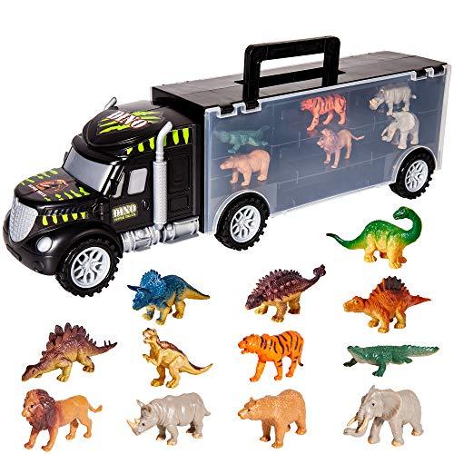 HERSITY Dinosaurios Camiones de Transporte de Juguete Transportador de Coches con 6 Animales y 6 Dinosaurios Juegos para Niños Niñas