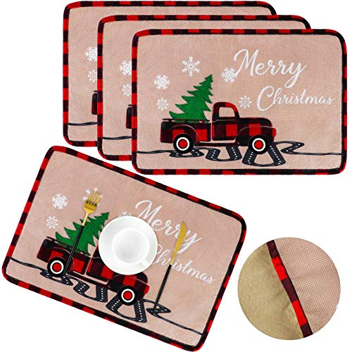 Aneco 4 Pack Christmas Placemat Christmas Vintage Truck Placemat Linen Fabric Christmas Placemat for Christmas Indoor Outdoor Events 12 x 18 Inches