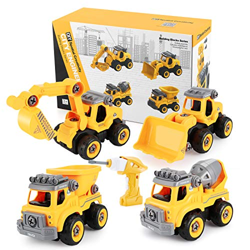 OCDAY Veicoli Cantiere Giochi Bambini 4 Tipi di Automobili Giocattolo di Ingegneria Parti di Sicurezza Assemblate a Mano Dotate di Pistola Elettrica a Vite Regali per Bambini