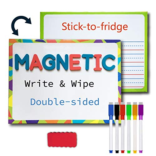 Lined Magnetic Dry Erase Board for Kids with 6 Markers, Premium Double-Sided Dry Erase Lapboard for Learning Writing and Drawing – Stick to Fridge – 9 X 12 Inch Small White Board for Kids (1)