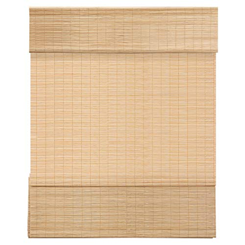 MUANNA Cordless Bamboo Roman Shades Light Filtering Window Treatment, Roll Up Bamboo Blinds for Window 43 2/5'' Wx60'' L, Carbonized