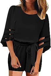 Agana Womens High Waist Short Sleeve Casual Rompers Wide Leg Jumpsuit Black M