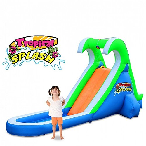 Blast Zone Tropical Splash - Inflatable Water Slide with Blower - Compact - Sets up in Seconds - Spray - Splash Area