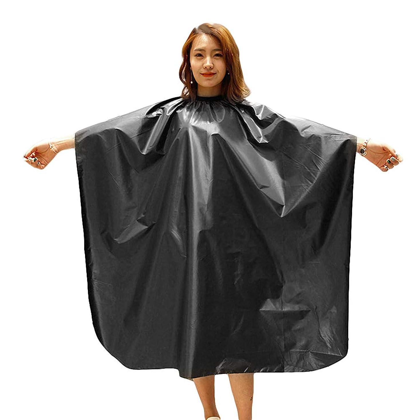 すべきエッセンス大きいLURROSE サロンのクライアントのための防水布散髪ケープヘアーカットマント理容岬ヘアカットガウン(ブラック)