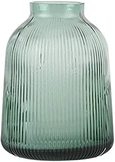 Glass Cylinder Vase Green Vertical Stripes Glass Vases for Centrepieces Perfect for Real Or Faux Flowers (Size : 21cm)