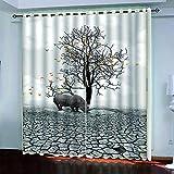 MPHWCL Cortinas Opacas de Salón Moderna con Ojales 3D Sequía Animal hipopótamo Patrón Cortinas Opacas Salon Habitación Aislantes Térmicas 140 x 160 cm para Habitación Niños Niñas Salón