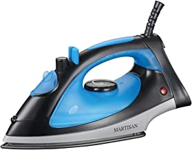MARTISAN Compact Steam Iron 1200W, Nonstick Soleplate Lightweight Iron, Variable Temperature Steam, Blue/Black