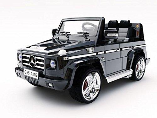 RC Auto kaufen Kinderauto Bild 5: Lizenz Kinderfahrzeug Mercedes Benz G55 AMG Jeep SUV mit 2x 35W Motor Kinderauto Elektroauto Fernbedienung MP3 Anschluss in Schwarz*