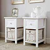 <span class='highlight'>Bedside</span> Table Set of 2 White Shabby Chic <span class='highlight'>Bedside</span> Cabinet with Wicker Woven Basket and Drawers Storage Nightstand for Bedroom Living Room Small Furniture