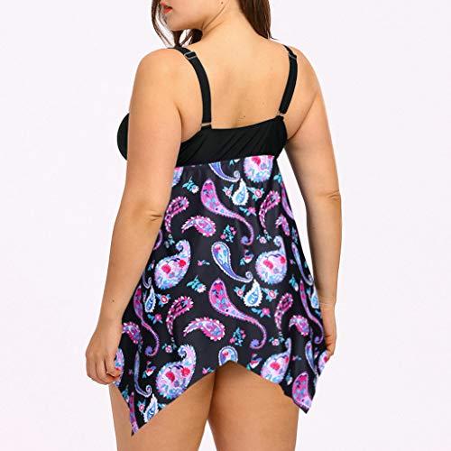 KPILP Womens Deep V Neck Swimsuit Plus Size Vintage Fashion Summer Swimwear Two Piece Tankini Set Ethnic Style Retro Bikini Swimming Costume Bathing Suit(Purple,XL)