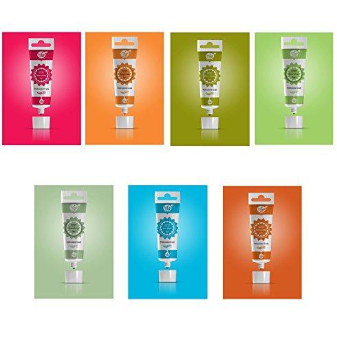 PROGEL - 7 X Gel colorante comestible de pigmentación muy concentrada (Fresa,...