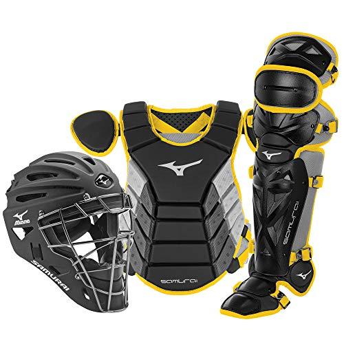 Mizuno Samurai Adult Baseball Boxed Catcher's Gear Set , Black-Yellow, 15' Men's Adult