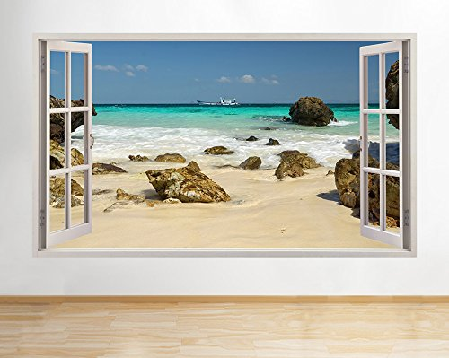 b155 Sand Sea Ocean Rocks boat Scenic View Wall Decal Poster 3D art Stickers Vin (Medium (52x30cm))