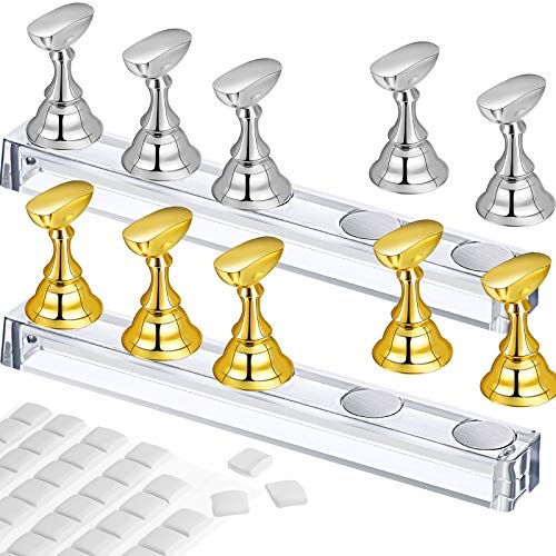 2 Set Acrylic Nail Art Practice Stands Magnetic Nail Tips Holders Training Fingernail Display Stands DIY Nail Crystal Holders and 96 Pieces White Reusable Adhesive Putty (Gold and Silver)