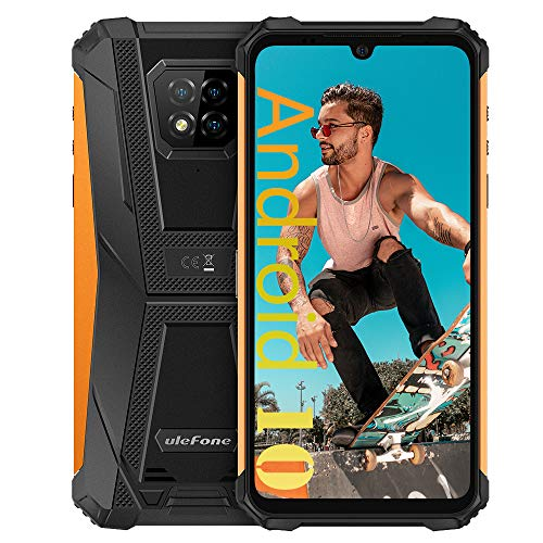 4G Unlocked Rugged Phones, Ulefone Armor 8 4GB+64GB Android 10 P60 Octa-core, 16MP Four Camera 6.1 inch Screen 5580mAh Big Battery, Dual SIM Unlocked Smartphones for AT&T T-Mobile US Version -Orange