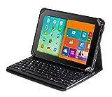 Navitech Fall/Abdeckung/kabellose Tastatur/Hülle mit Standfunktion & QWERTZ Bluetooth Keyboard für das TrekStor SurfTab xiron 7.0