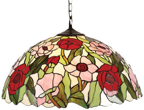 Lighting Web Co Tiffany Abat-jour en verre Motif coquelicots Diamètre 50,80 cm