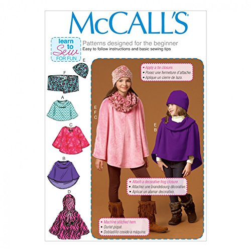McCall 's Mädchen Learn To Sew Easy Schnittmuster 7012 Poncho, Schal und Mütze
