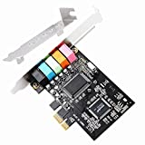 INTEFIRE PCIe Sound Card for PC Windows 10 with Low Profile Bracket, 3D Stereo PCI-e Audio Card 5.1 Internal, CMI8738 Chip Sound Card PCI Express Adapter Compatible with Win 7 8 10 32/64 Bit