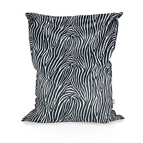 Italpouf Sitzsack Sitzkissen Riesensitzsack XL Zebra 98x135 cm 220l Füllung Indoor Beanbag