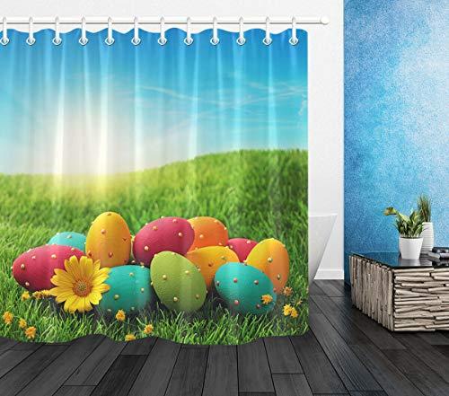 NNAYD1996 Kleurrijke paaseieren op groen gras lente Pasen Vochtbestendig en meeldauw bestendige 3D digitale afdrukken kleur heldere abstracte grafische badkamer accessoires 180X180CM