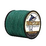 Hercules - Hilo de Pesca Trenzado, 1000 m, 100 m, para Agua Salada, Agua Dulce, 4 hebras, Color Verde, 13,6 kg, 0,28 mm