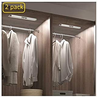 2 Pack Motion Sensor Closet Lighting with Germany Osram Beads, Eye Protection Design for Under Cabinet Lights Automatic Wireless Lighting, LED Rechargeable Night Lighting for Wardrobe Pantry Light