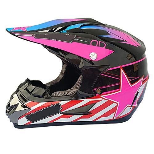 qwert Motorcycle Full Face Off Road ATV Crash Helmet Motocross Mountain Cross Downhill Moped Helmet for Adult Kids Men Women, DOT Certified (S/M/L/XL)