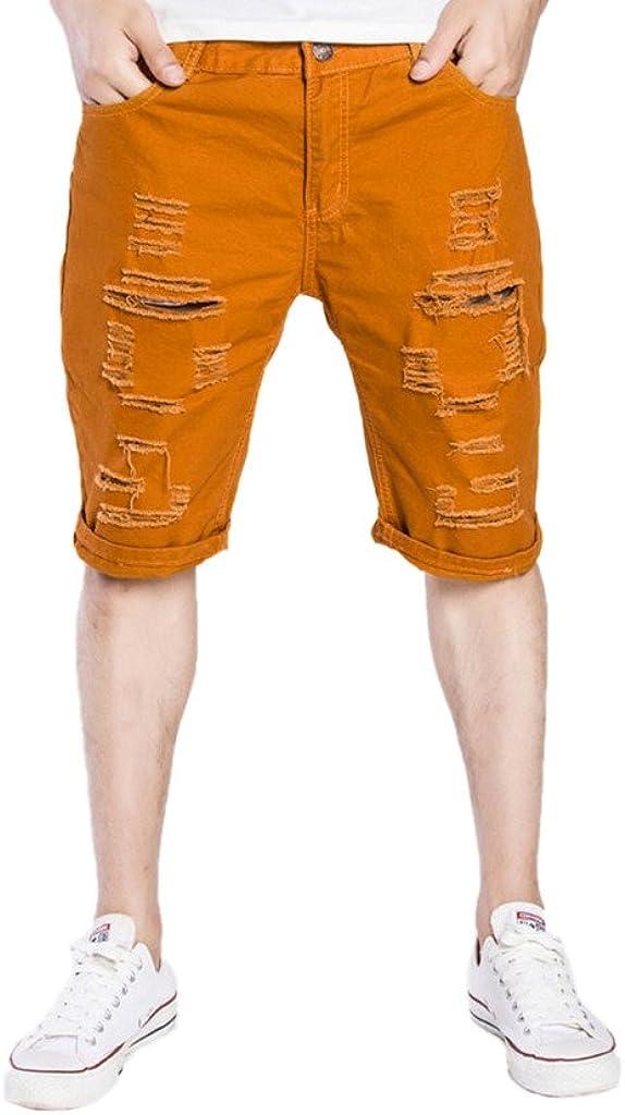 Elonglin Mens Denim Shorts Ripped Jean Rolled Cuff Shredded Holes