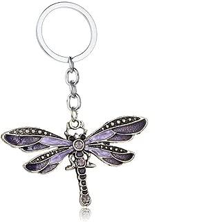 Aysekone Chic Enamel Dragonfly Keychain Bohemia Dragonfly Pendants Keyring Women Ladies Jewelry Gifts Animal Charms Key Chain Car Bags Keyfob(Purple)