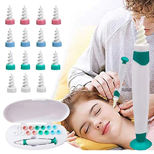 Earwax Removal Tool-YAKOO Ear Wax Cleaner,Ear Wax Remover with Suction Cup Soft Silicone Spiral Earwax Remover Tool with 16 Replacement Tips Ear Wax Cleaner for Adults & Kids