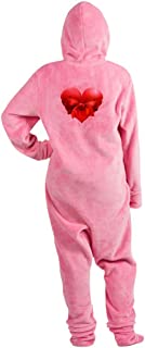 Truly Teague Adult Footed Pajamas Heart With Red Bow - Pink, XL