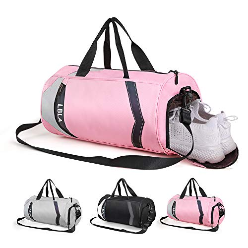 LBLA Small Gym Bag with Shoes Compartment for Men Women, Waterproof Sport Bag Lightweight Travel Weekender Bag(Pink)