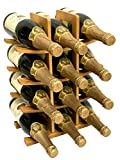 DECOMIL - 12 Bottle Samurai Style Stackable Modular Wine Rack Wine Storage Rack Solid Bamboo Wine Holder Display Shelves, Wobble-Free (12 Bottle Capacity - Samurai Style Capacity)
