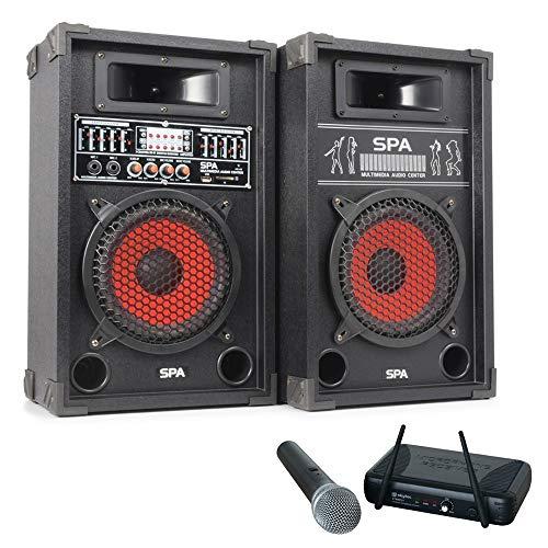 SkyTec 600W geluidsbox SPA-800 met draadloze microfoon