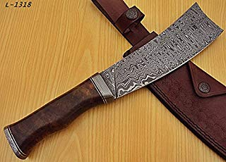 Poshland Knives RK-L-1318- Custom Handmade Damascus Steel 12.00 Inches Cleaver style Knife - Exotic Wallnut Wood Handle