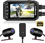 Motorcycle Dash Cam, Blueskysea DV128 Dual 1080P Lens Video Recorder Motorcycle Camera 2.7 LCD Front and Rear Waterproof DVR with G-Sensor, Loop Recording,GPS,Manual Lock,Night Vision,130 Degr