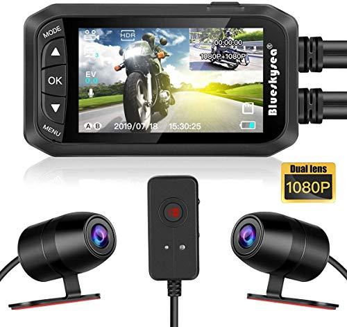 "Motorcycle Dash Cam, Blueskysea DV128 Dual 1080P Lens Video Recorder Motorcycle Camera 2.7"" LCD Front and Rear Waterproof DVR with G-Sensor, Loop Recording,GPS,Manual Lock,Night Vision,130 Degr"