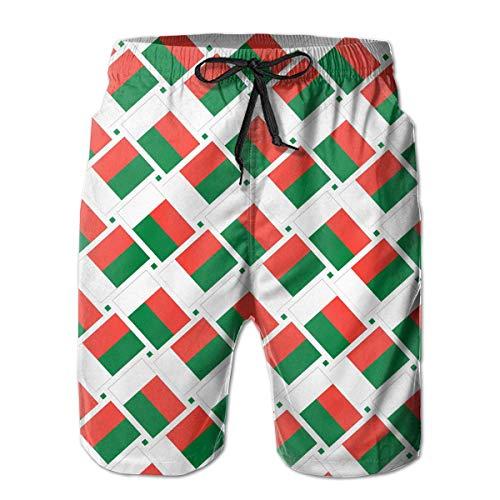 wwoman Herren Badehose Madagaskar Flag Weave Schnell Trocknend Beach Board Shorts, M