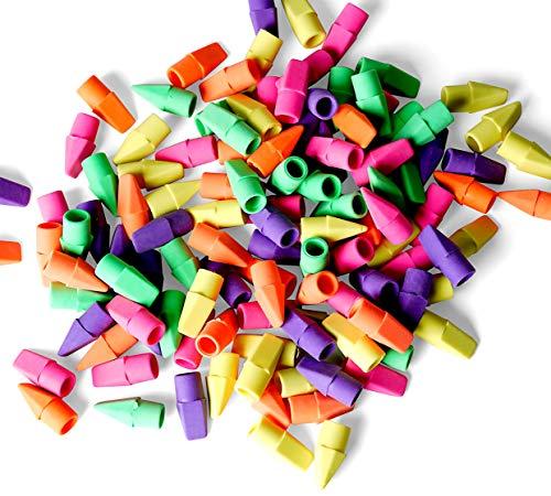 Incredible Value Bulk 120 Pencil Eraser Tops - Neon Pencil Top Erasers - Assorted Colors Pencil Eraser Caps