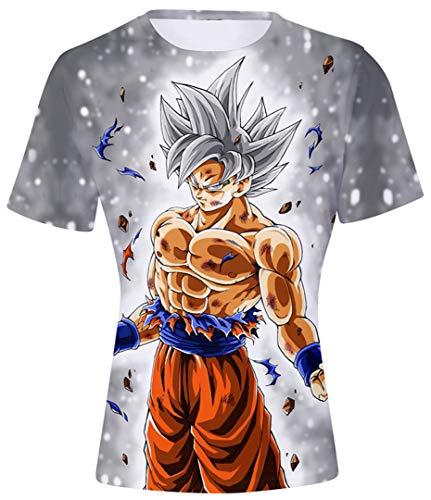 Silver Basic T-Shirt à Manches Courtes Drangon Ball Super Enfant Garçon Tops Sport Son Goku Saiyan Vegeta 3D Impression XXS,Son Goku Ultra Instinct-a