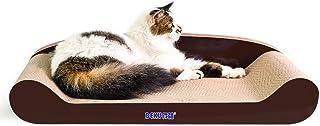KEBIK 猫 爪とぎ 段ボール スクラッチャー 猫 おもちゃ ネコソファー 猫ベッド、スクラッチャー両用 運動不足 ストレス解消 (ブラウン 60CM)
