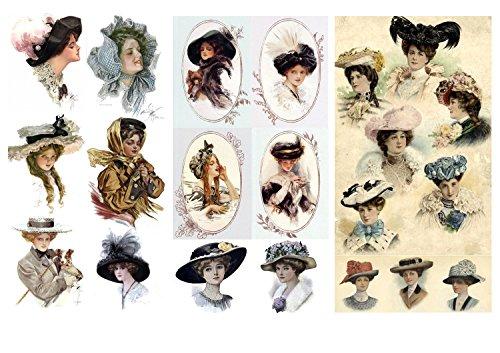 Decoupage Papier Pack (12 blatt A4 / 20x30cm) Victorian Lady Hats FLONZ Vintage Retro