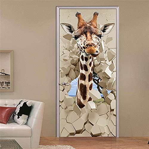 Design Creativo Art Door Poster autoadesivo adesivo da parete impermeabile per la Porta Bagno Camera da letto Home Decor Murale A3 77x200cm