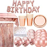 Jolily Oro rosa Decorazioni per feste di compleanno, Stoviglie per 16 ospiti, 16 tazze, 16 piatti, 16 tovaglioli,HAPPY BIRTHDAY banner, coriandoli, tovaglia di stagnola, 15 palloncini