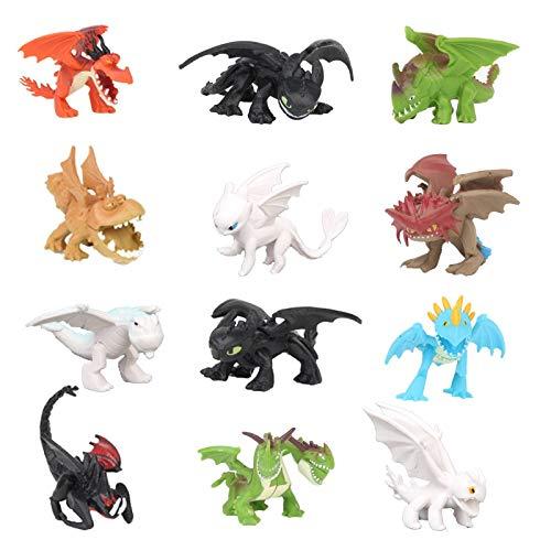 Yingyang Figura de anime Anime Train Your Dragon Mini Figura de acción de PVC Juguetes el mundo oculto sin dientes Furia nocturna luz Furia Hiccup Modelo Muñecas (color 12 piezas de dragón)