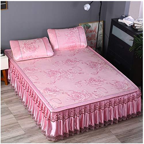 Lecho de enfriamiento Estera con la Funda de Almohada 3Piece Conjunto Plegable Falda Mat Kit de Verano de enfriamiento del artefacto, Lavable a máquina (1.8 * 2m) (Color : Pink, Size : 2 * 2m Bed)